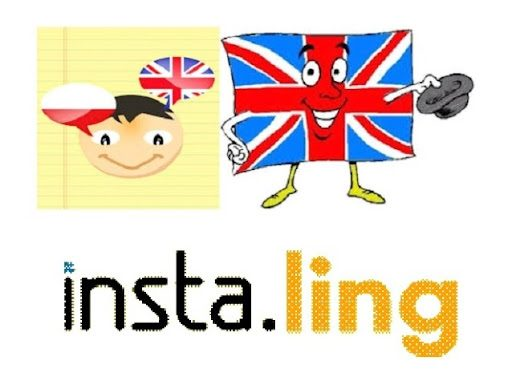 Plakat. Na plakacie po lewej stronie rysunek twarzy dziecka, przy której widnieje flaga polskai brytyjska. Po prawej stronie uśmiechniety ludzik w ksztalcie i o wygladzie flagi Wielkiej Brytanii, trzymający w prawej ręce kapelusz. Pod spodem napis: insta.ling.