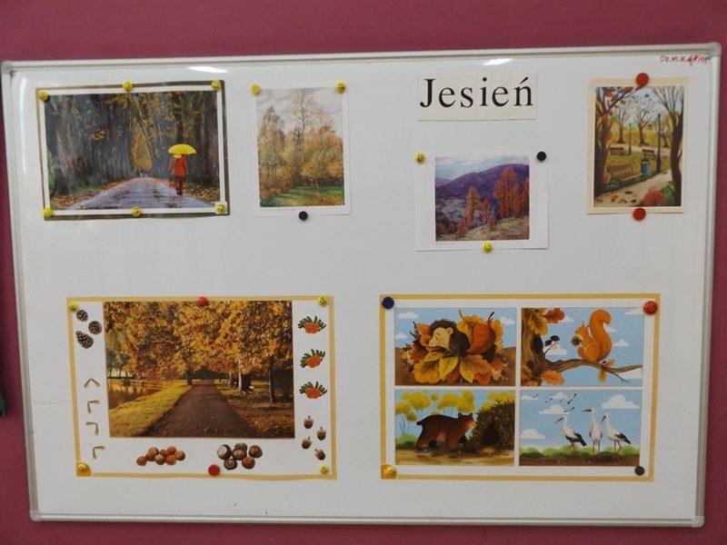 Tablica magnetyczna. Na tablicy umiejscowionych jest sześć obrazków o tematyce jesiennej.